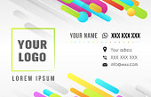 template of the business card with colorful strips