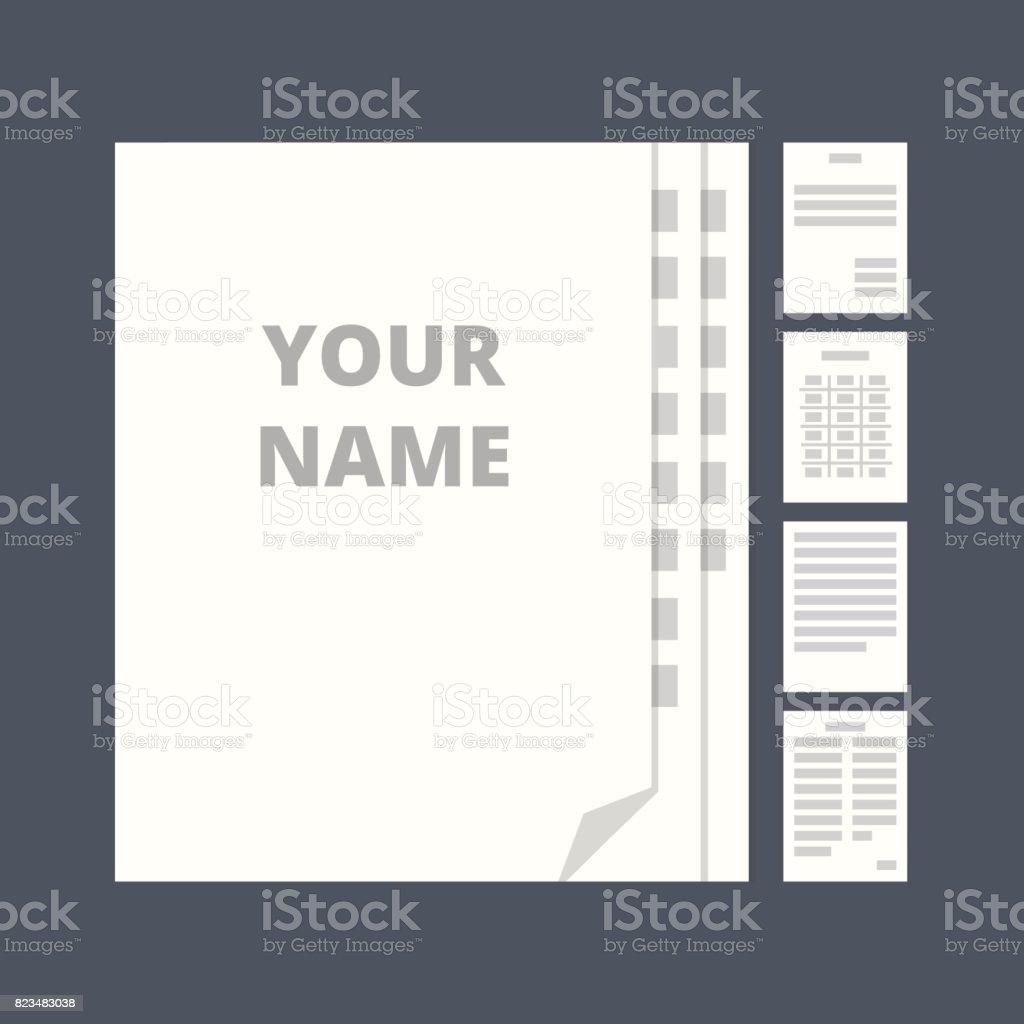 Vorlage der Urkunde. Symbole in eine flache Vektor-Stil – Vektorgrafik