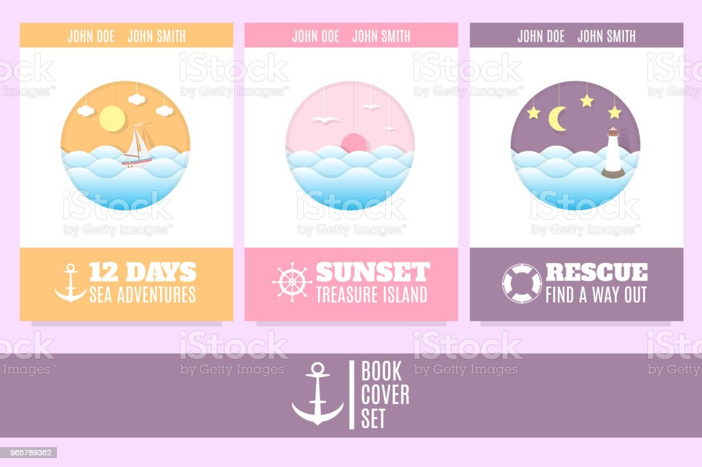 Template of three book cover in a marine style. Good for tourists, travel agents and tour operators. - Royalty-free Adventure stock vector