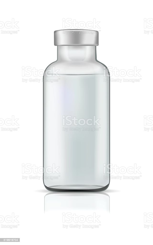 Template of transparent glass bottle with rubber cap. vector art illustration