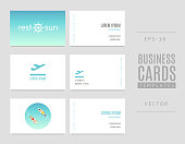 istock Template of travel business cards. Good for tourists, travel agents and tour operators. 977854624