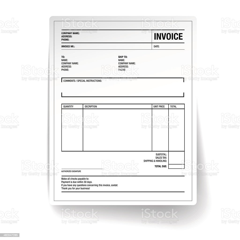 Template of unfill paper tax invoice form vector art illustration