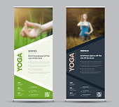 Template of universal vector roll-up banner with place for photo. Design for business, sport. A sample on the theme of yoga.
