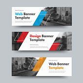 Template of vector horizontal web banners with diagonal color design elements and space for photo.