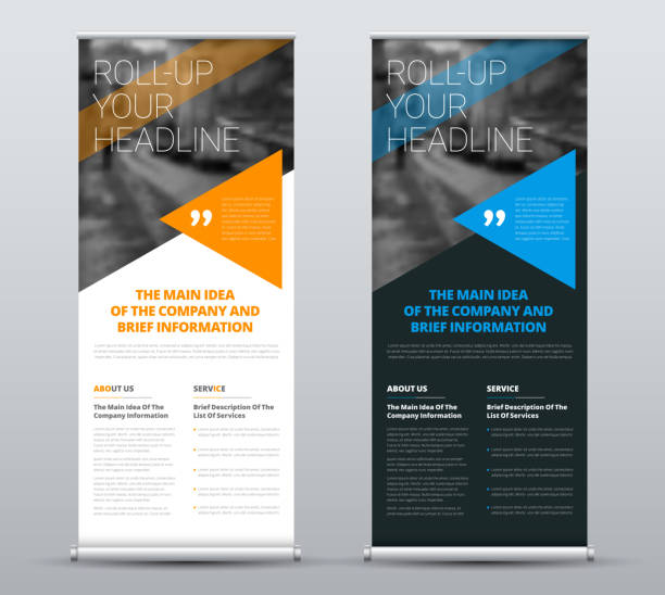 template of vector roll-up banners with blue and orange triangles and a place for a photo. vector art illustration