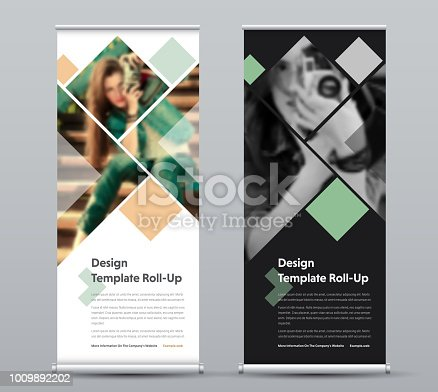 Template of vector vertical roll-up banner with square elements for a photo. Black and white Design flyer for business and advertising, a sample for photographers.