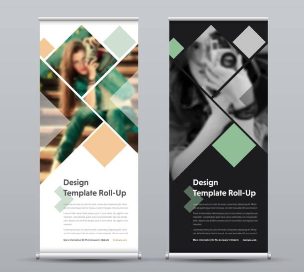 垂直捲動橫幅範本與正方形元素的照片。 - 垂直構圖 幅插畫檔、美工圖案、卡通及圖標