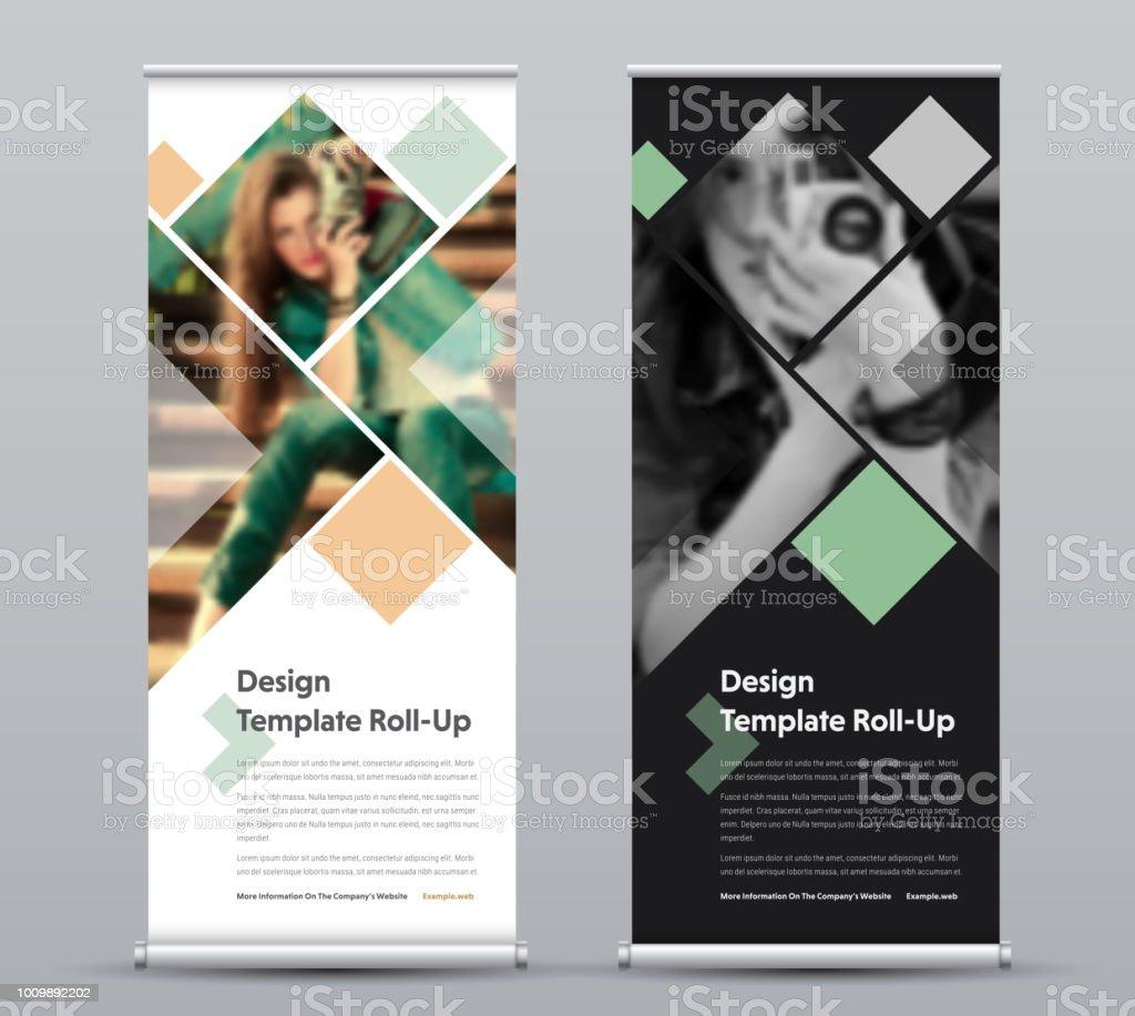 Vorlage der vertikalen Rollup-Banner mit quadratischen Elementen für ein Foto. – Vektorgrafik