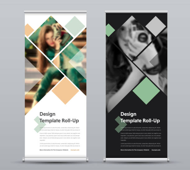 Template of vertical roll-up banner with square elements for a photo. vector art illustration