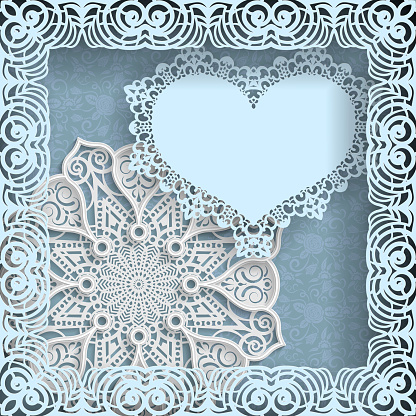 Template of wedding greetings or invitations. 3D mandala, paper heart with a lace border on the edge in a lacy paper frame. Floral background on the bottom. Place for writing on a paper heart. Vector.