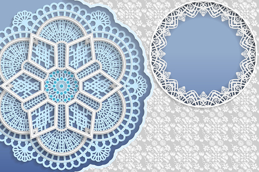 Template of wedding greetings or invitations. 3D mandala, round frame with lace edges, surface with a relief pattern. Floral background on the surface. Place for the inscription in the frame. Vector.
