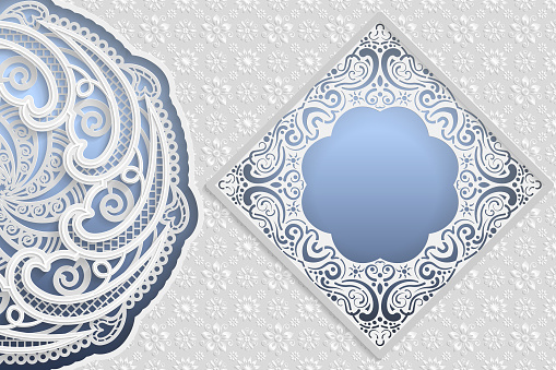 Template of wedding greetings or invitations. 3D mandala, square frame with lace edges, surface with a relief pattern. Floral background on the bottom. Place for the inscription in the frame. Vector.