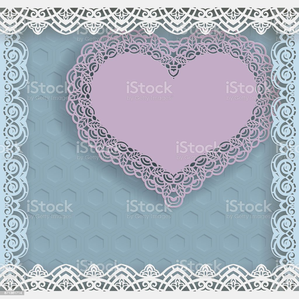 template of wedding greetings or invitations paper heart with a lace