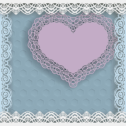 Template of wedding greetings or invitations. Paper heart with a lace border on the edge in a lacy paper frame. Geometric background on the bottom. Place for writing on a paper heart. Vector.