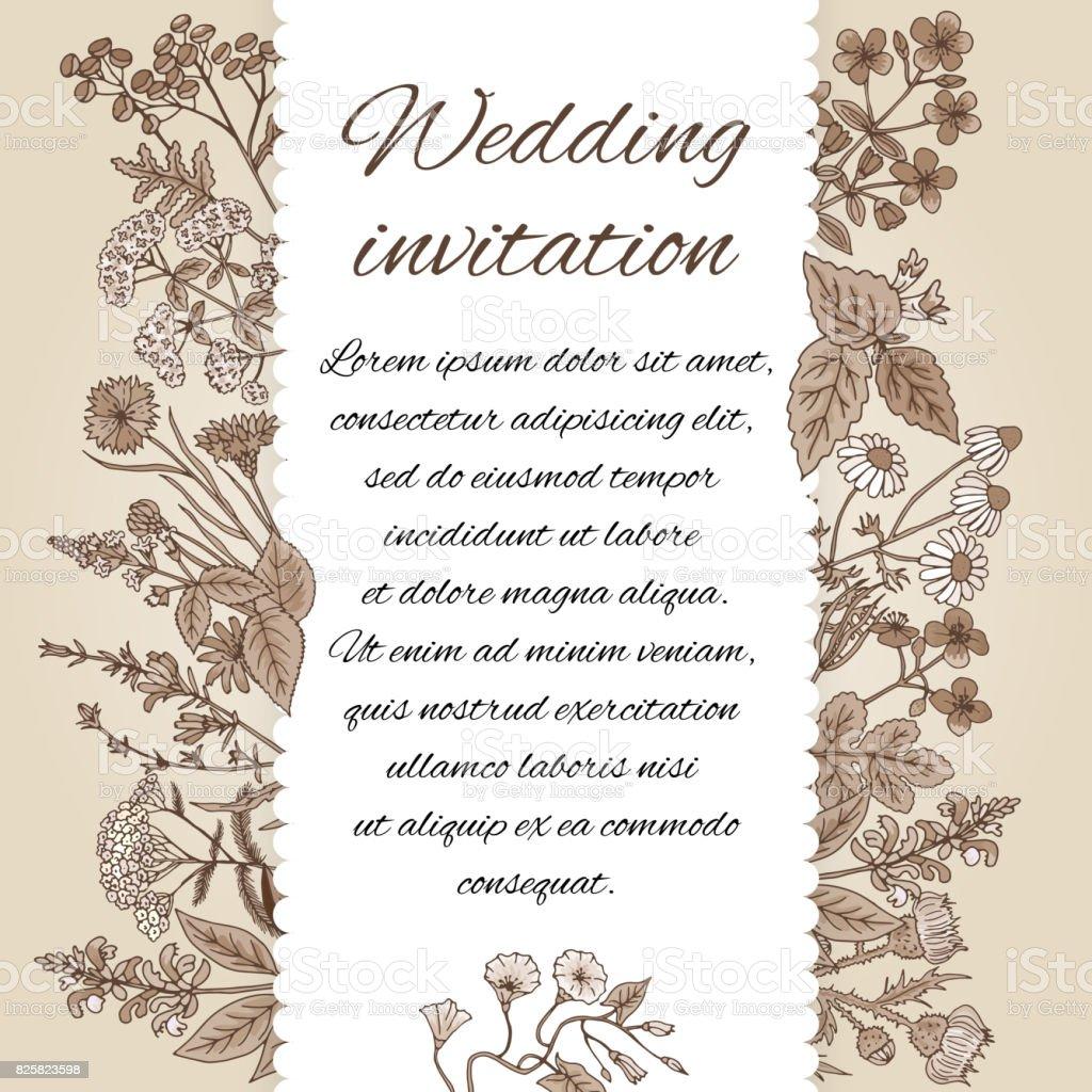 Vorlage Der Hochzeitseinladung Im Vintagestil Es Gibt Platz Fur Text