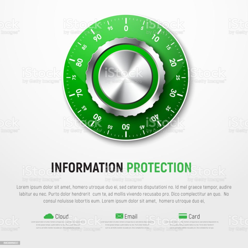 Template Of White Banner With Green Mechanical Combination Lock Diagram Royalty Free