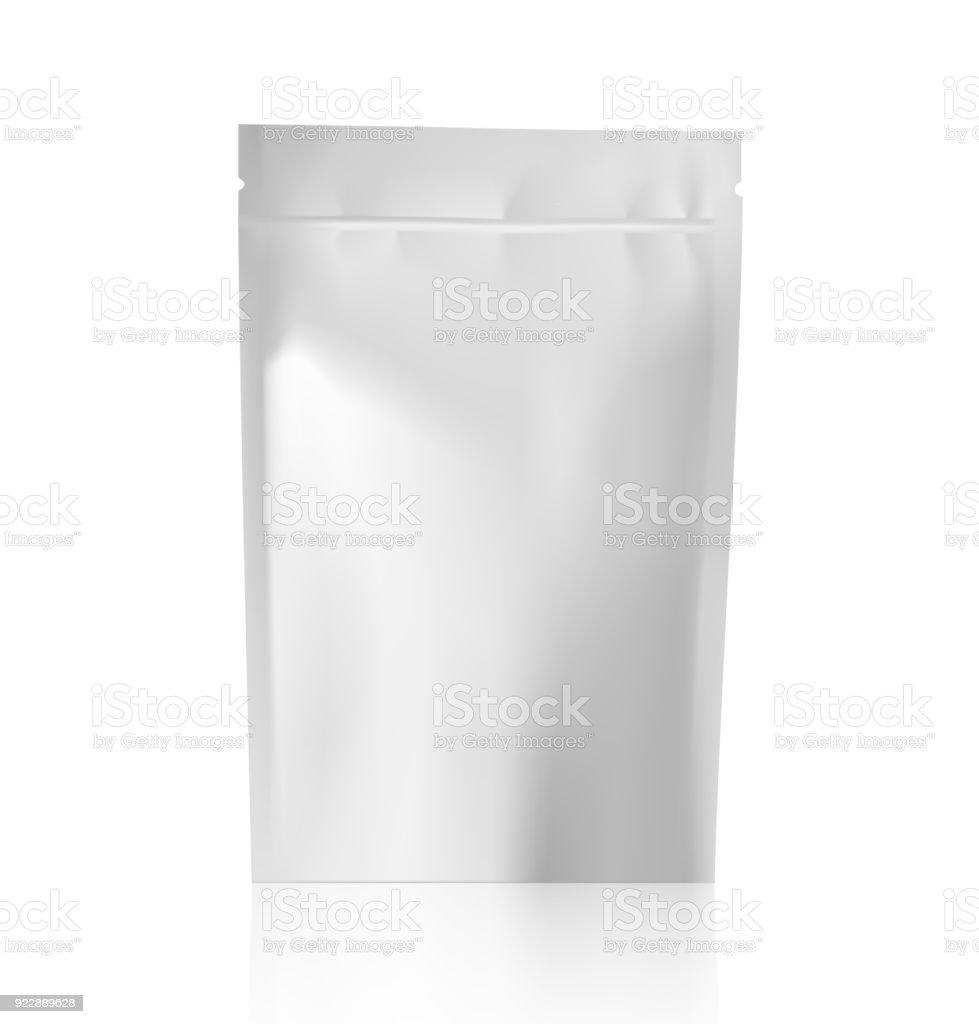 Modelo de branco em branco doy pack saco. - ilustração de arte em vetor