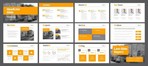 ilustrações, clipart, desenhos animados e ícones de modelo de slides de vetor branco para apresentações e relatórios com laranja retângulos e quadrados. - deslize
