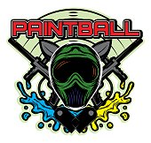 colored vector template for design on the theme of paintball his helmet, weapon, blots