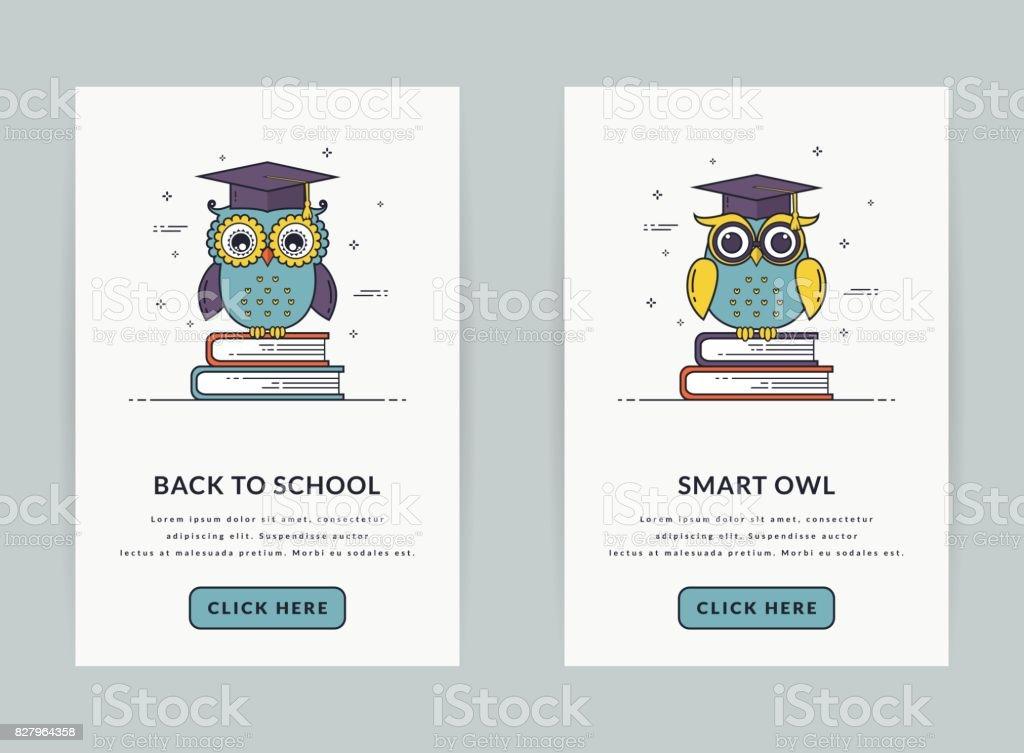 Banners web o plantilla de interfaz de usuario para el tema de la educación. - ilustración de arte vectorial