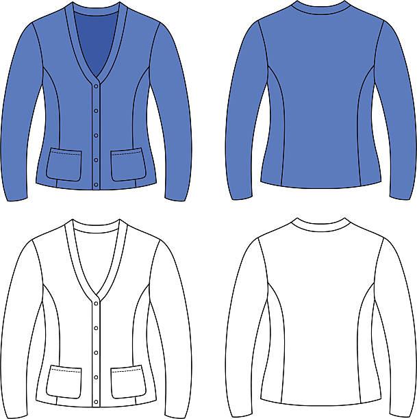 stockillustraties, clipart, cartoons en iconen met template outline illustration of a blank woman jacket - men blazer