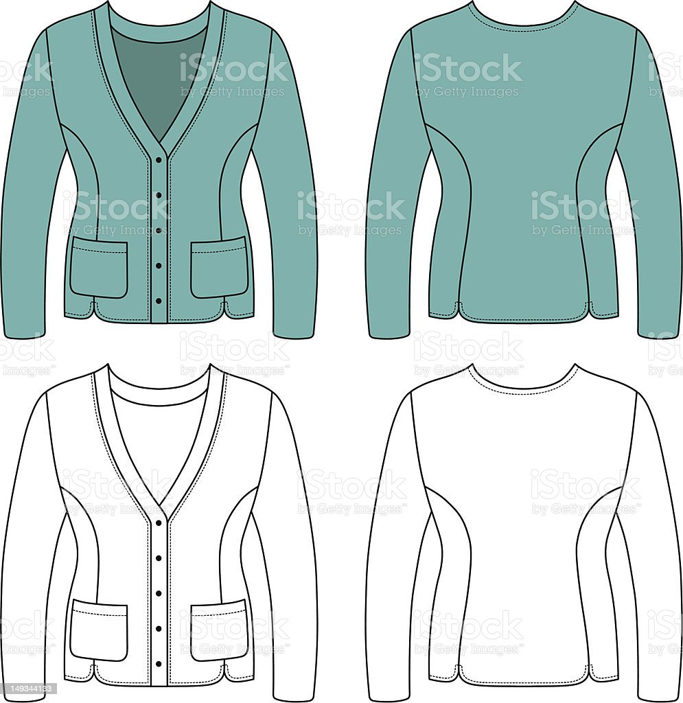 Template outline illustration of a blank woman jacket royalty-free stock vector art