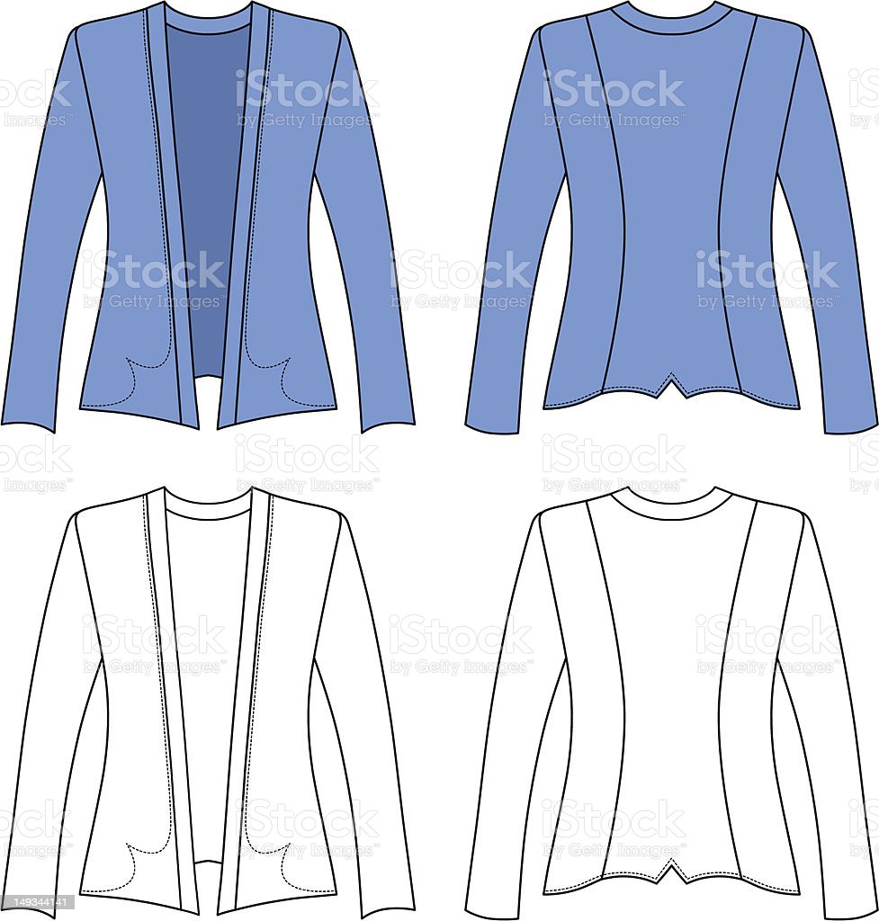 Template outline illustration of a blank woman jacket royalty-free template outline illustration of a blank woman jacket stock vector art & more images of blank