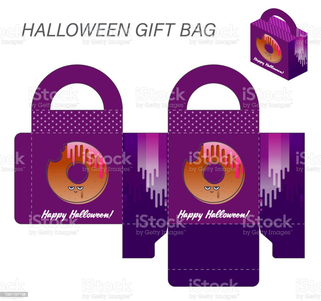 Template Paper Gift Box With Handles For Halloween Sweets Monster ...