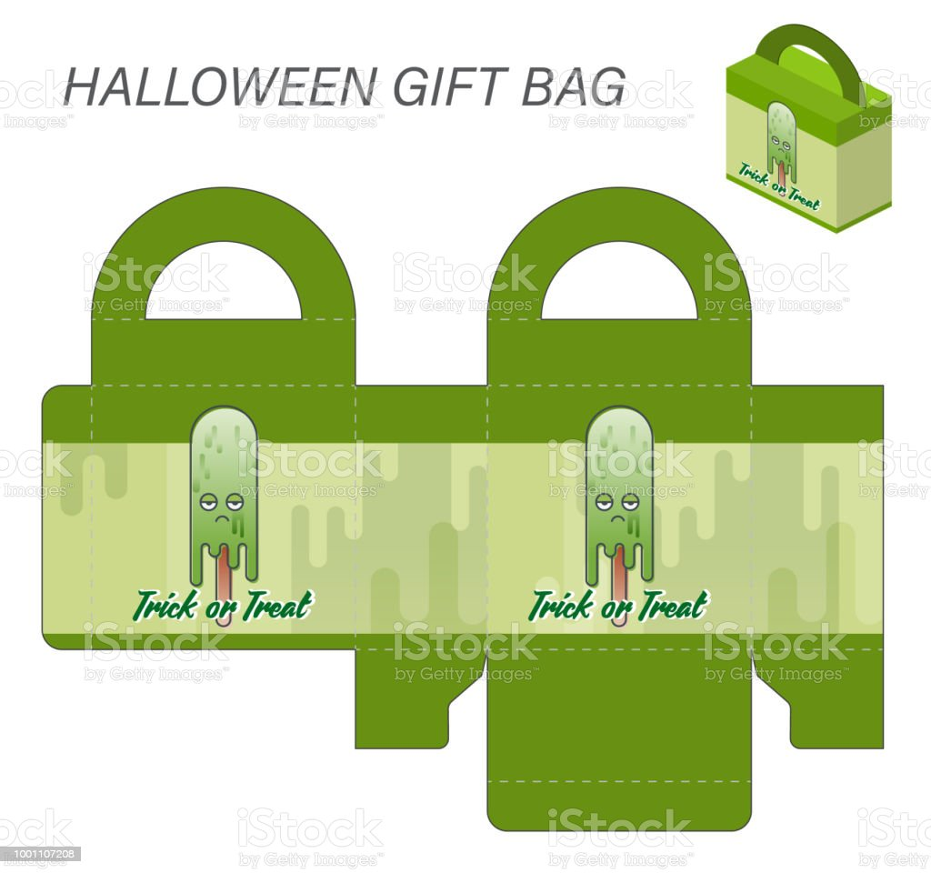 Template Paper Gift Box With Handles For Halloween Sweets Monster