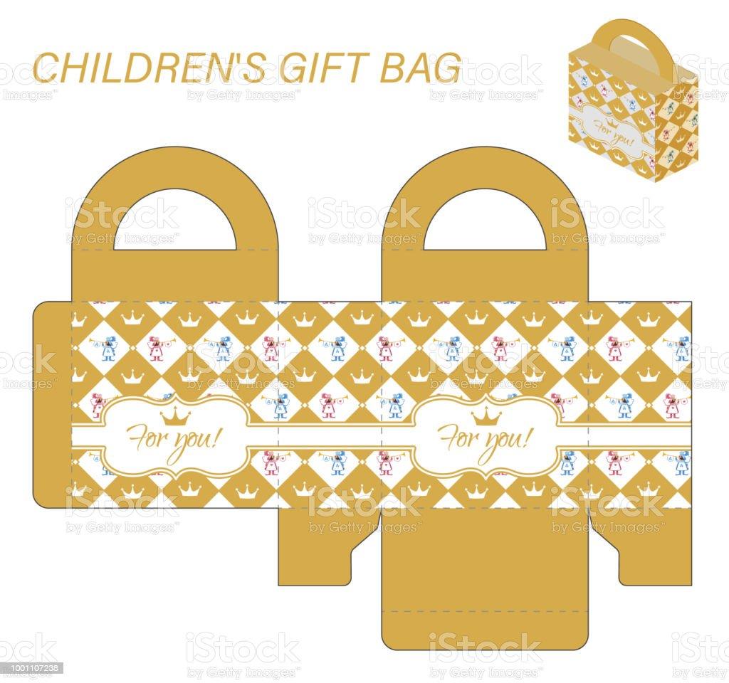 Vorlagepapiergeschenkbox Mit Griffen Für Süßigkeiten Kinder Muster ...