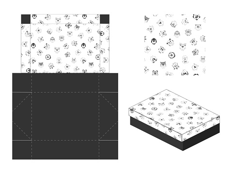 Template paper gift package. Background with cute cartoon animals. Vector illustration.