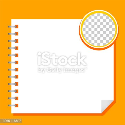 istock template paper square white and circle transparent, orange background, blank paper white for banner presentation, cover paper white square print for clip art 1269116827