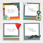 Design photo frames on nice background. Decorative template for baby, family or memories. Scrapbook concept, vector illustration. Hipster