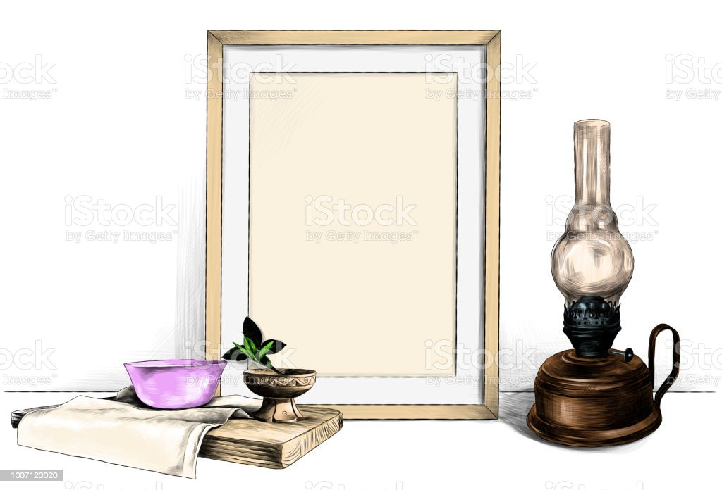 Template Picture In A Frame Standing On The Table Next To A Kerosene ...