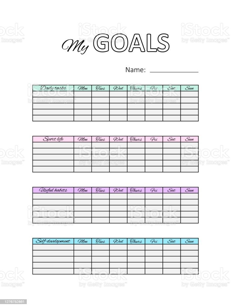Template Planner List With Own Goals Printable Notepad Areas Of Life Vector Stock Illustration Download Image Now Istock