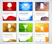 Design of business cards for cafes, bars and restaurants. Polygonal colorful business card templates with glasses of wine, brandy, beer, cocktail, martini and juice. Vector illustration. Set.