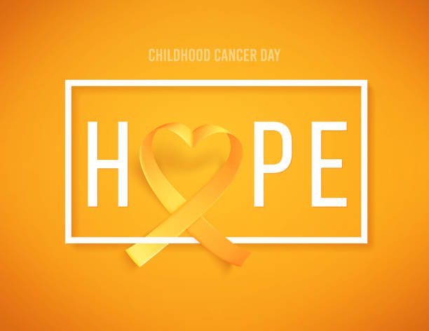 ilustrações, clipart, desenhos animados e ícones de pôster de modelo hope for cancer awareness month with realistic gold ribbon heart haped - hope