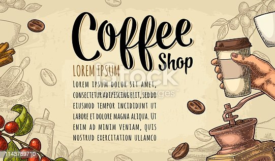 Template poster with coffee hand holding disposable cup with cardboard holder and cap, beans, cinnamon, branch, leaf, berry. Vintage color vector engraving illustration on beige background.