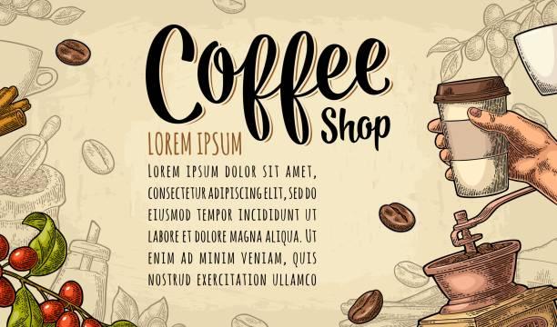 일회용 컵 커피를 들고 손으로 템플릿 포스터 - coffee stock illustrations