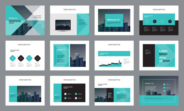 template presentation design and page layout design for brochure ,book , magazine,annual report and company profile , with infographic elements  design - brochure templates stock illustrations, clip art, cartoons, & icons