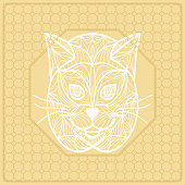 vector illustration pattern with cat face decorative border design