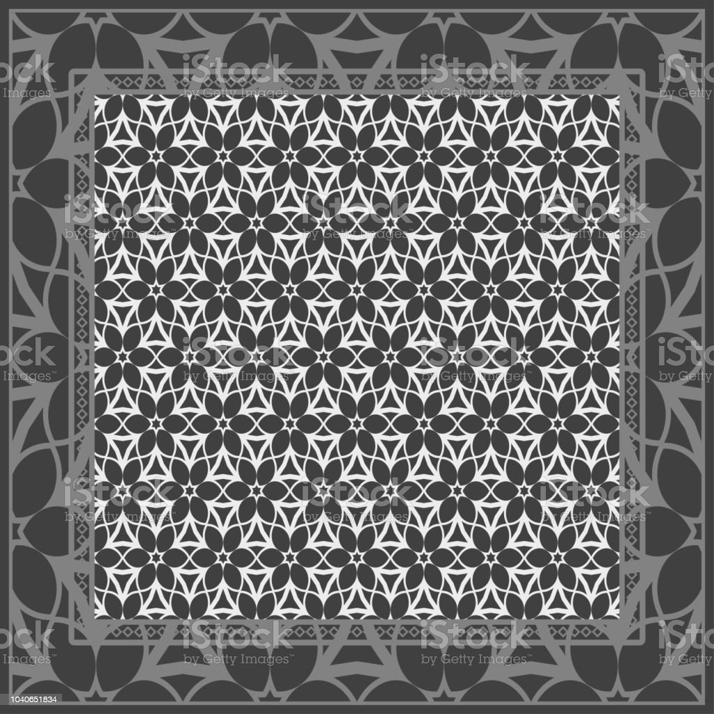 template print for fabric pattern of floral geometric ornament with