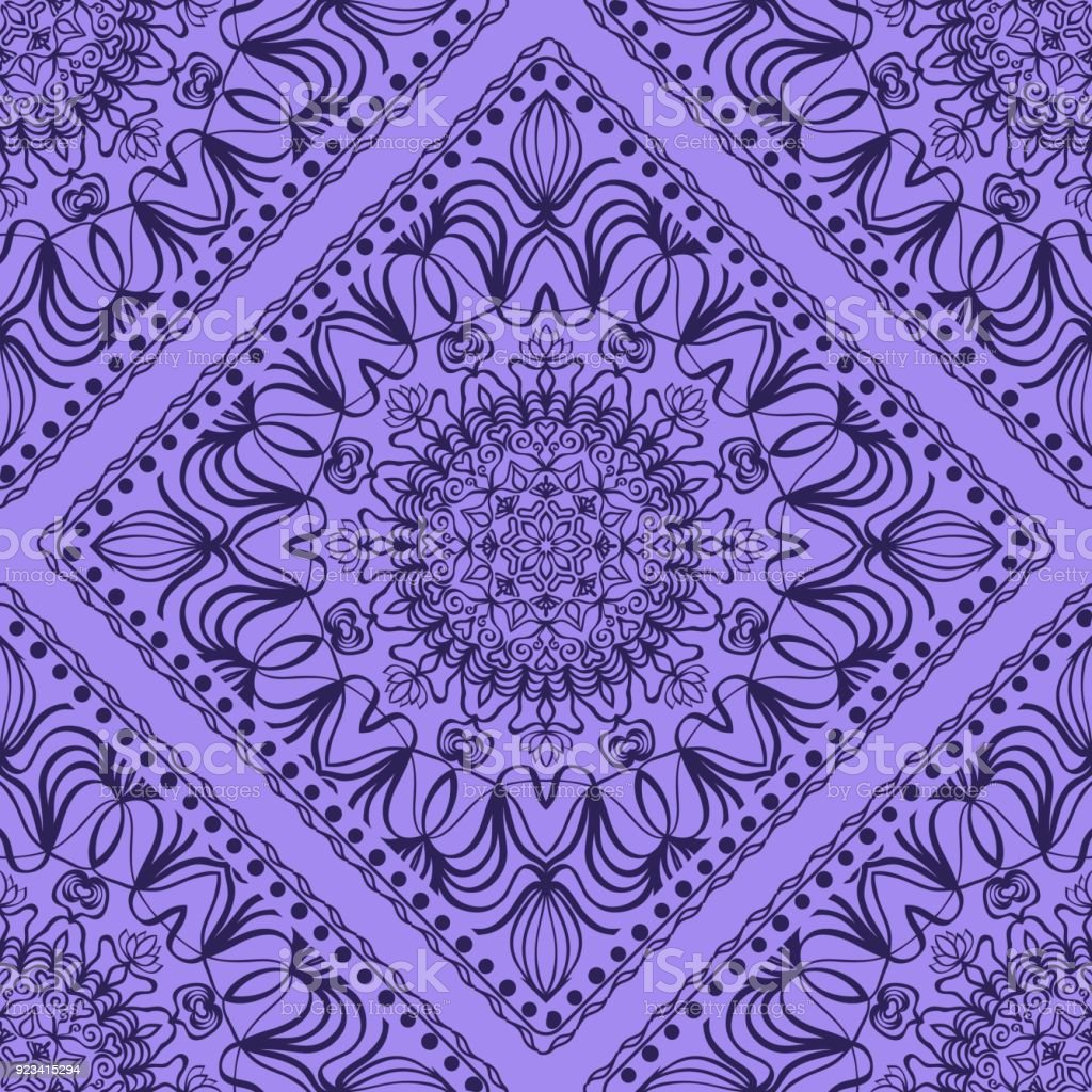 template print for fabric pattern of mandala with border vector