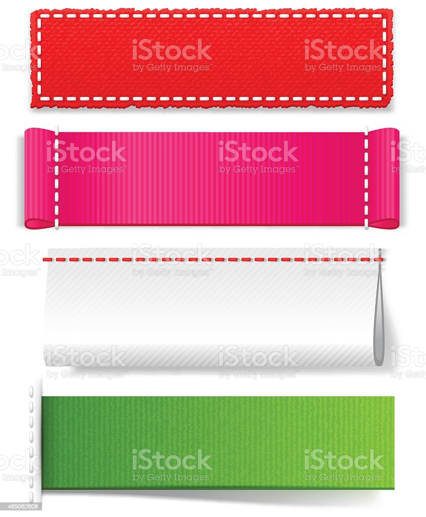Template realistic fabric labels vector art illustration