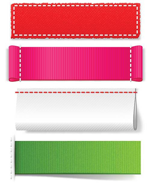 template realistic fabric labels - textile stock illustrations, clip art, cartoons, & icons