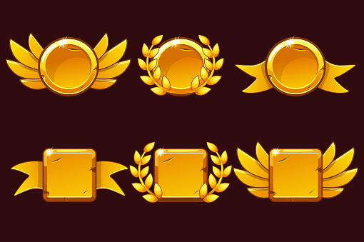 Template Receiving game achievement. Vector illustration with Golden old awards. For game, user interface, banner, application, interface, slots, game development.