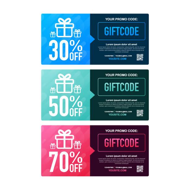 illustrazioni stock, clip art, cartoni animati e icone di tendenza di template red and blue gift card. promo code. vector gift voucher with coupon code. vector stock illustration. - coupon