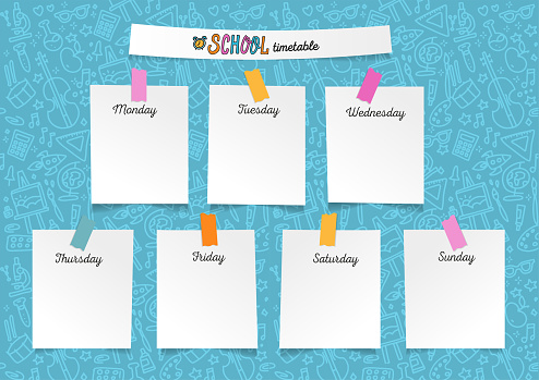 Template school timetable for students or pupils. Illustration with pieces of paper on stickers with many hand drawn elements of studing symbols and doodle background school supplies theme.