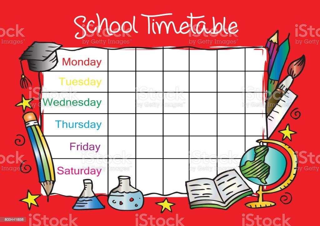 Vorlage Stundenplan Für Studierende Stock Vektor Art und mehr Bilder ...