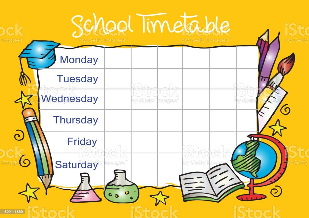 template school timetable for students stock vector art